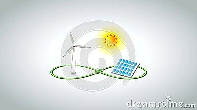 Infinite Renewable Energy Footage. Footage of infinite renewable energy vector illustration