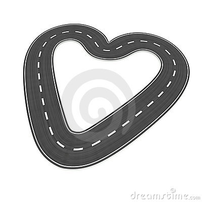 Infinite road in heart shape
