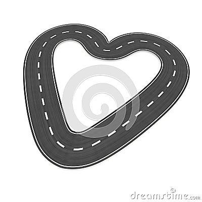 Infinite road in heart shape