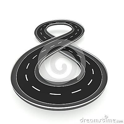 Infinite road in hourglass shape