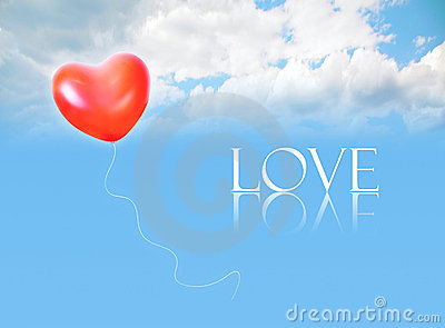 Inflatable balloon in sky and LOVE word