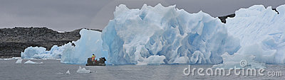 Inflatable boat and iceberg