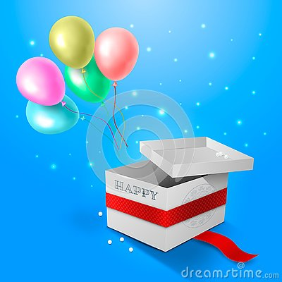 Inflatable multi-colored balls fly out of the open white cardboard box. The stars shine around, the pearls lie on the floor. Congr Stock Photo