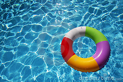 Inflatable Rubber Ring in a beautiful blue pool
