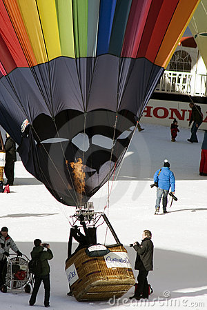 Inflating a balloon at Chateau D Oex Editorial Stock Image