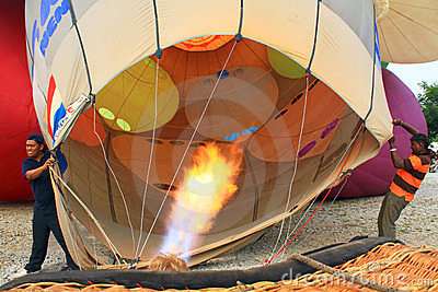 Inflating Hot Air Balloon Editorial Stock Image