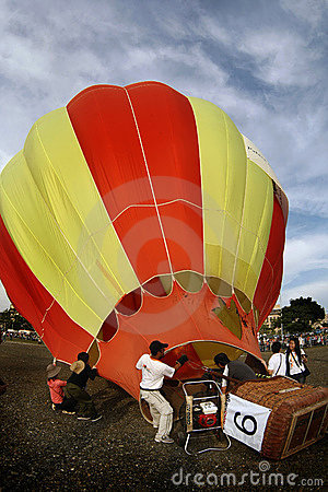 Inflating hot air balloon Editorial Stock Photo