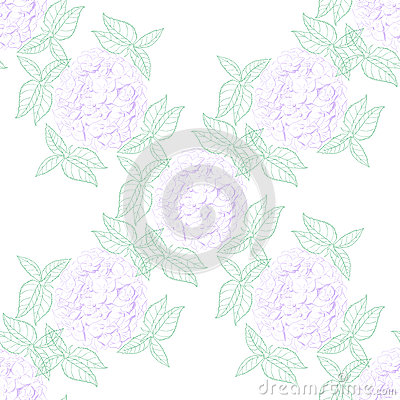 Inflorescence Hydrangea randomly arranged in seamless pattern, vector illustration in hand drawing linear style. Vector Illustration