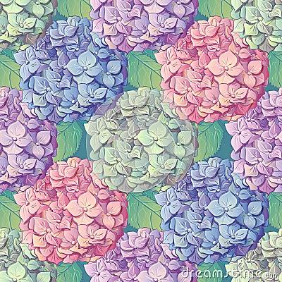 Inflorescence Hydrangea randomly arranged in seamless pattern, vector illustration in hand drawing style. Vector Illustration