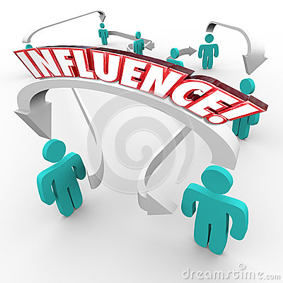 Influence Word Connecting People Group Target Customer Market