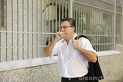 Influenza: Man coughing