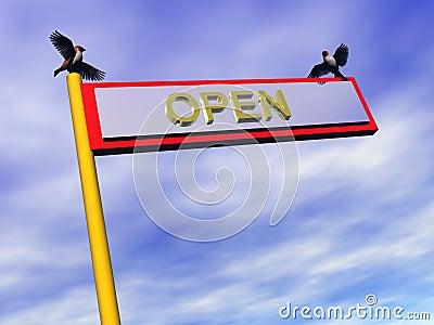 Info sign, open.