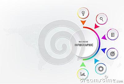 Infograph 6 steps element, diagram process with centre circle. Graphic chart diagram, business timeline graphic design Vector Illustration