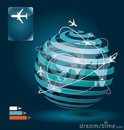 Infographic airplane connections network concept design