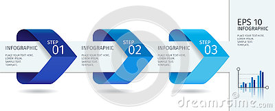 Infographic arrows with step up options. Vector template in flat design style Vector Illustration