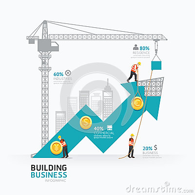 Free Infographic Business Arrow Shape Template Design.building Stock Photography - 54743822