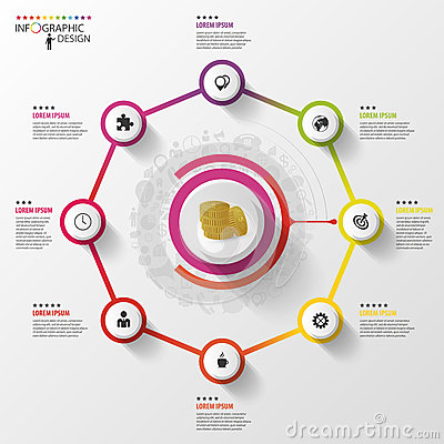 Free Infographic. Business Concept. Colorful Octagon With Icons. Vector Stock Image - 55882291