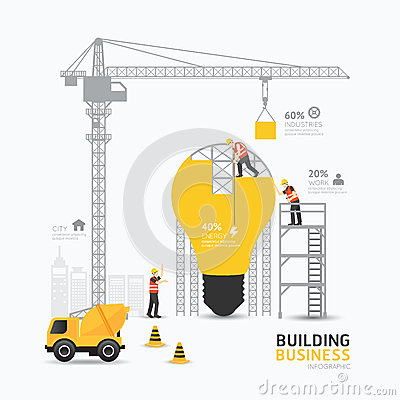 Free Infographic Business Light Bulb Shape Template Design.building Stock Photo - 54743840