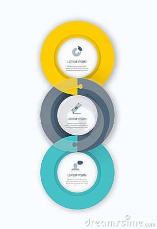 Infographic circle timeline web template for business with icons and puzzle piece jigsaw concept. Awesome flat design to be used o Vector Illustration