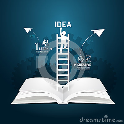 Free Infographic Climbing Ladder Book Diagram Creative Paper Cut. Royalty Free Stock Photo - 39432995
