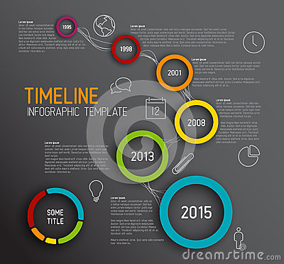 Free Infographic Dark Timeline Report Template With Circles Stock Photo - 41411640