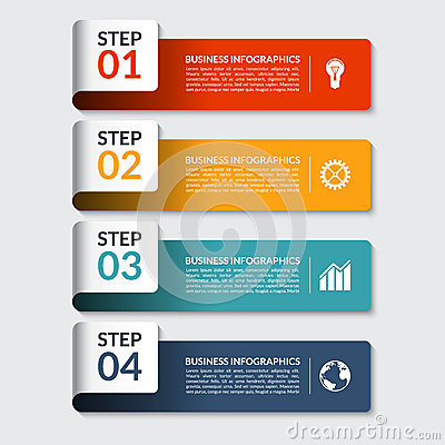 Free Infographic Design Number Banners Template. Can Be Used For Business, Presentation, Web Design Stock Photography - 57571322