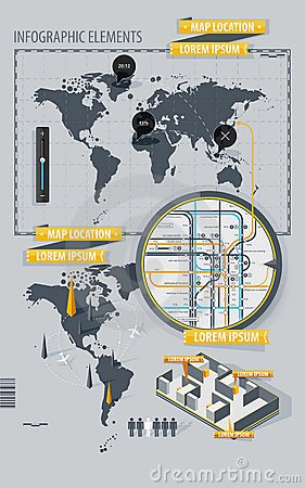 Infographic Elements with world map and a map