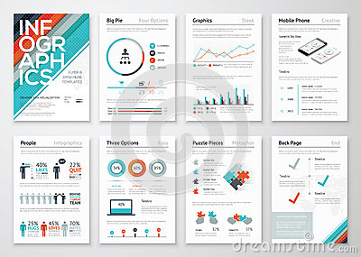 Infographic flyer and brochure elements for business data visualization Vector Illustration