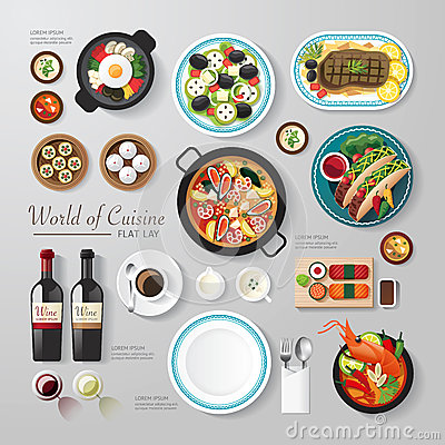 Free Infographic Food Business Flat Lay Idea. Royalty Free Stock Images - 51396169