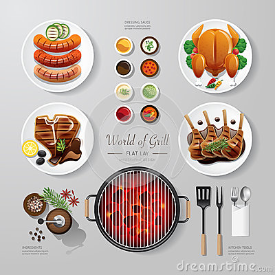Free Infographic Food Grill, Bbq, Roast, Steak Flat Lay Idea. Vector Royalty Free Stock Image - 51750656