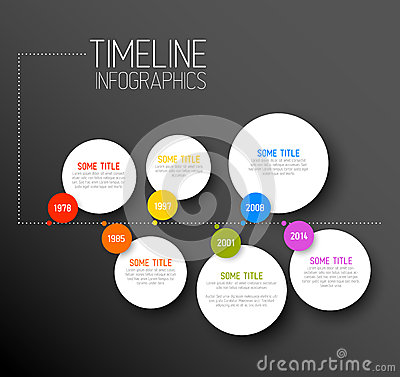 Free Infographic Horizontal Dark Timeline Report Template Stock Photos - 39473523