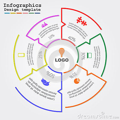 Infographic Ideas infographic lines : Infographic Report Template With Lines And Icons Stock Vector ...