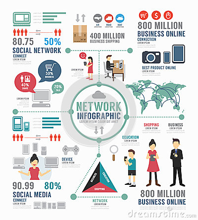 Free Infographic Social Network Template Design . Concept Vector. Royalty Free Stock Photo - 42716185