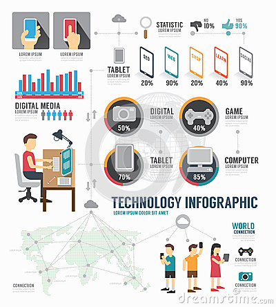 Free Infographic Technology Digital Template Design . Concept Vector Stock Image - 41824821