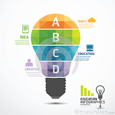 Free Infographic Template Geometric Light Bulbs Banner Stock Photo - 37963360