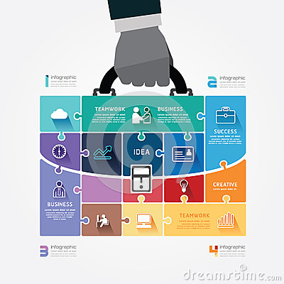 Free Infographic Template With Businessman Hand Hold Ba Stock Image - 37963531