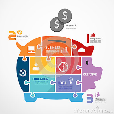 Free Infographic Template With Piggy Bank Jigsaw Banner. Royalty Free Stock Images - 39435139