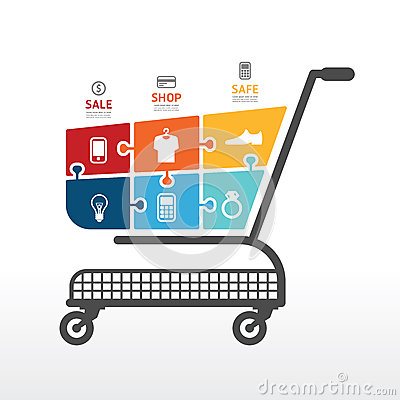 Free Infographic Template With Shopping Cart  Jigsaw Banner . Concept Stock Images - 39928044