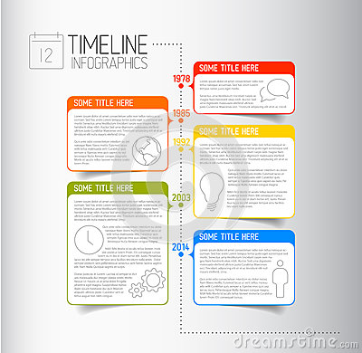Free Infographic Timeline Report Template With Descriptive Bubbles Stock Photography - 40558642