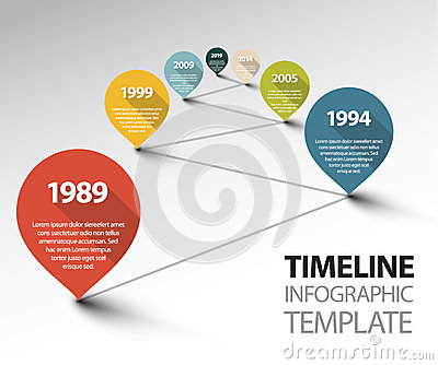 Infographic Timeline Template with pointers on a line