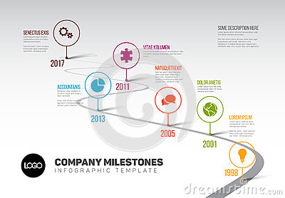 Infographic Timeline Template with pointers Vector Illustration