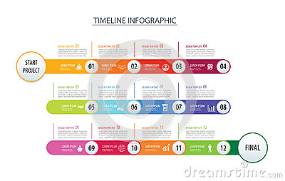 Infographic timeline 1 year template business concept arrows.Vector can be used for workflow layout, diagram, number step up Vector Illustration