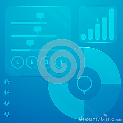 Infographic touch panel with a lot of elements and