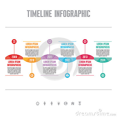 Free Infographic Vector Concept In Flat Design Style - Timeline Template Royalty Free Stock Photos - 42210358