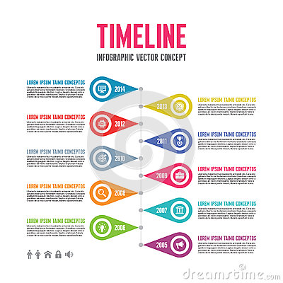 Free Infographic Vector Concept In Flat Design Style - Timeline Template Royalty Free Stock Images - 42640949