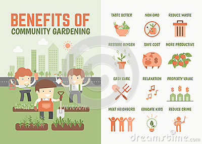 Infographics About Benefits Of Community Gardening Stock