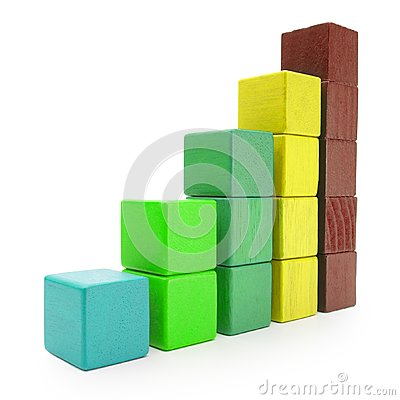 Free Infographics Blocks Chart, Infograph Bar Of Color Toy Cubes Stock Photography - 101849302