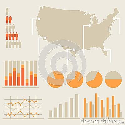Infographics con el mapa de Estados Unidos