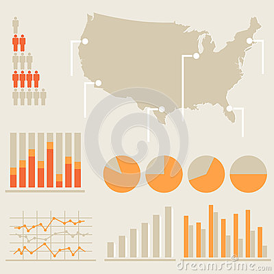 Infographics con la mappa degli Stati Uniti
