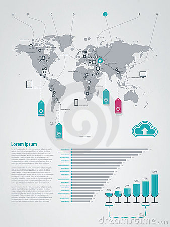 Infographics element with a map